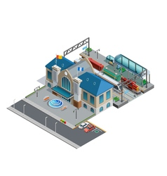 Train Station Isometric Miniature vector