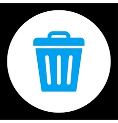 Trash Can flat blue and white colors round button vector image