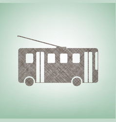 Trolleybus sign brown flax icon on green vector