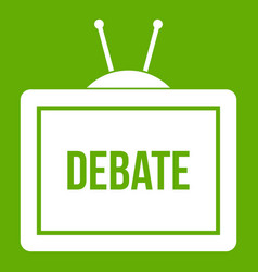 Tv with the debate inscription icon green vector