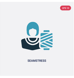 two color seamstress icon from professions jobs vector image