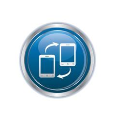 Two phones icon silver round copy vector