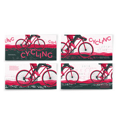typographic bicycle banners template set vector image