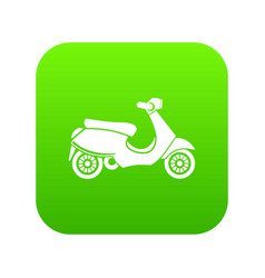 Vespa scooter icon digital green vector