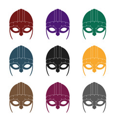 viking helmet icon in black style isolated on vector image