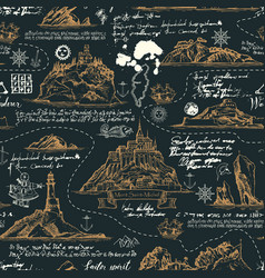 Vintage seamless background on theme travel vector