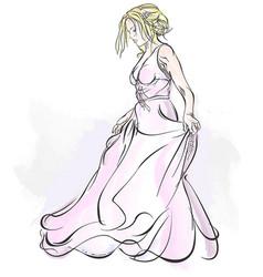walking bride watercolor drawing vector image
