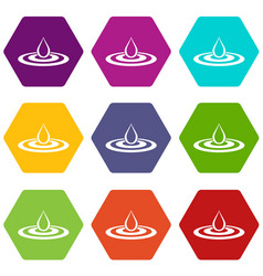 Water drop and spill icon set color hexahedron vector