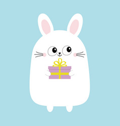 white bunny rabbit holding gift box funny head vector image