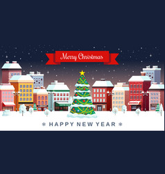 winter christmas holidays city vector image