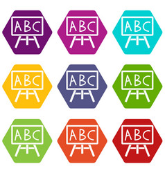 chalkboard with the leters abc icon set color vector image