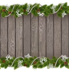 Christmas Old Board with White Decorations vector image vector image