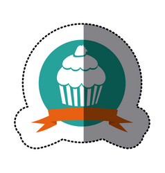 emblem muffin with strawberry icon vector image