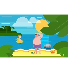 Seascape with Father and Little Son vector image vector image
