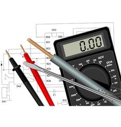 Soldering iron screwdriver and multimeter vector image