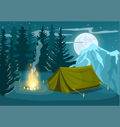 tourist camp in winter forest vector image