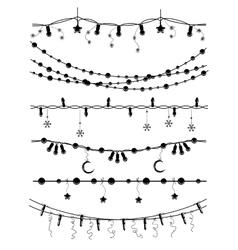 Hand drawn christmas garlands vector image