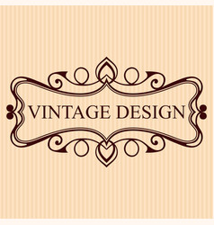 vintage calligraphic label ornate logo template vector image
