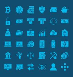 bitcoin glyphs website icons vector image