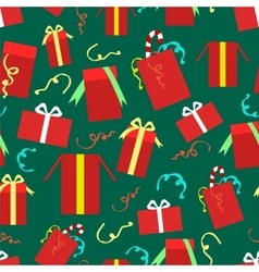 Christmas gift boxes seamless pattern vector image