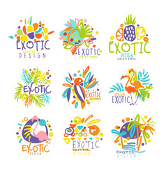 exotic tropical summer vacation set of logo vector image