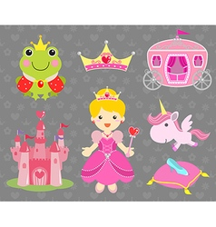 Set of Princess Party Clip Art vector image