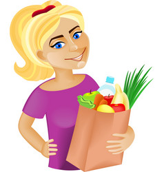 Woman with food vector