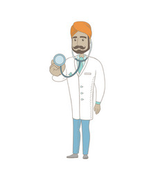Young indian doctor holding a stethoscope vector