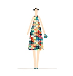 Beautiful woman in colorful dress for your design vector image