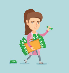 Executive manager with briefcase full of money vector