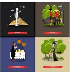 Happy halloween holiday concept posters vector image