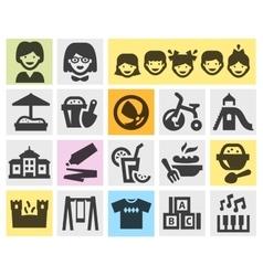Preschool kindergarten set black icons signs and vector