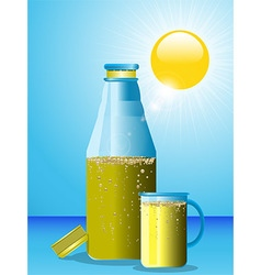 Summer drink bottle and glass vector