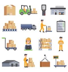 Warehouse Flat Icons Set vector image vector image