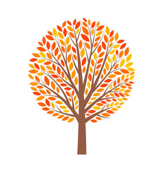 Abstract autumn tree with leaves vector