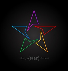 Abstract rainbow thin star design element on black vector image