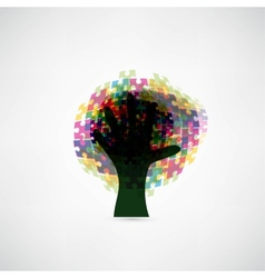 Abstract tree puzzle colorful background vector image