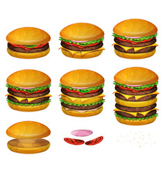 american burgers all size vector image vector image