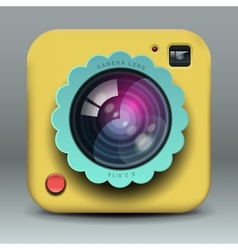 App design yellow photo camera icon vector