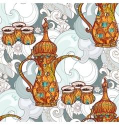 Arabic coffee maker dalla with cups vector image