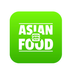 Asian food icon green vector