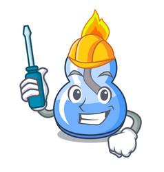 Automotive alcohol burner mascot cartoon vector