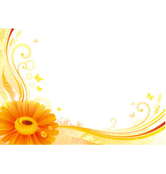 autumn background with gerbera daisy flower vector image