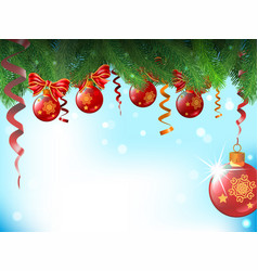 background with christmas balls and bows are vector image