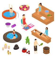 bath house elements concept 3d icon set isometric vector image