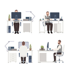 bearded man working on computer at workplace male vector image