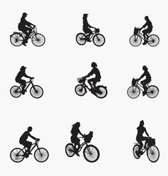 bicyclist woman silhouettes vector image