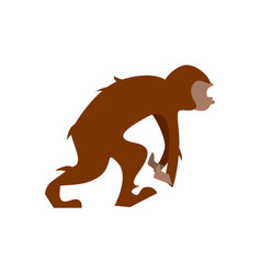 Big humanoid monkey going in flat design vector