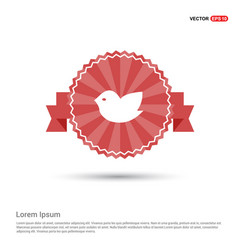 bird icon - red ribbon banner vector image