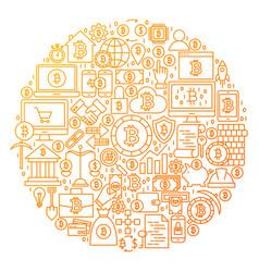 Bitcoin line icon circle design vector